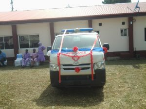 The ambulance parked beside the refurbished ward