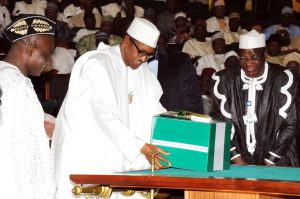 President Buhari,  presenting the 2016 Appropriation Bill to a joint session of the national assembly in Abuja