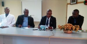 Dr. Furo Green (Centre) flanked by other NMA officials at the Press conference